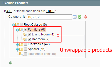 Set conditions for wrappable products